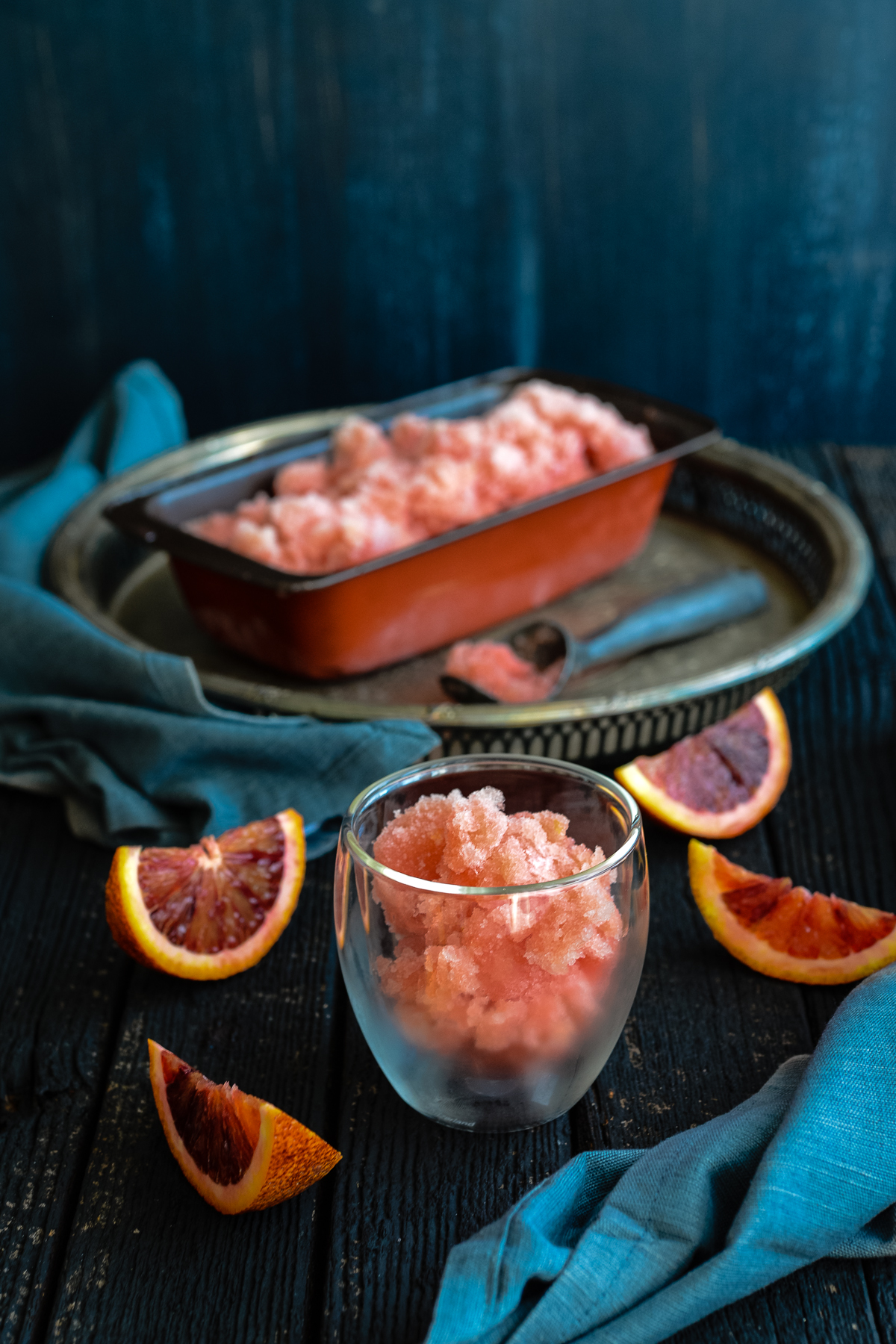Mimosa Sorbet with Blood Oranges