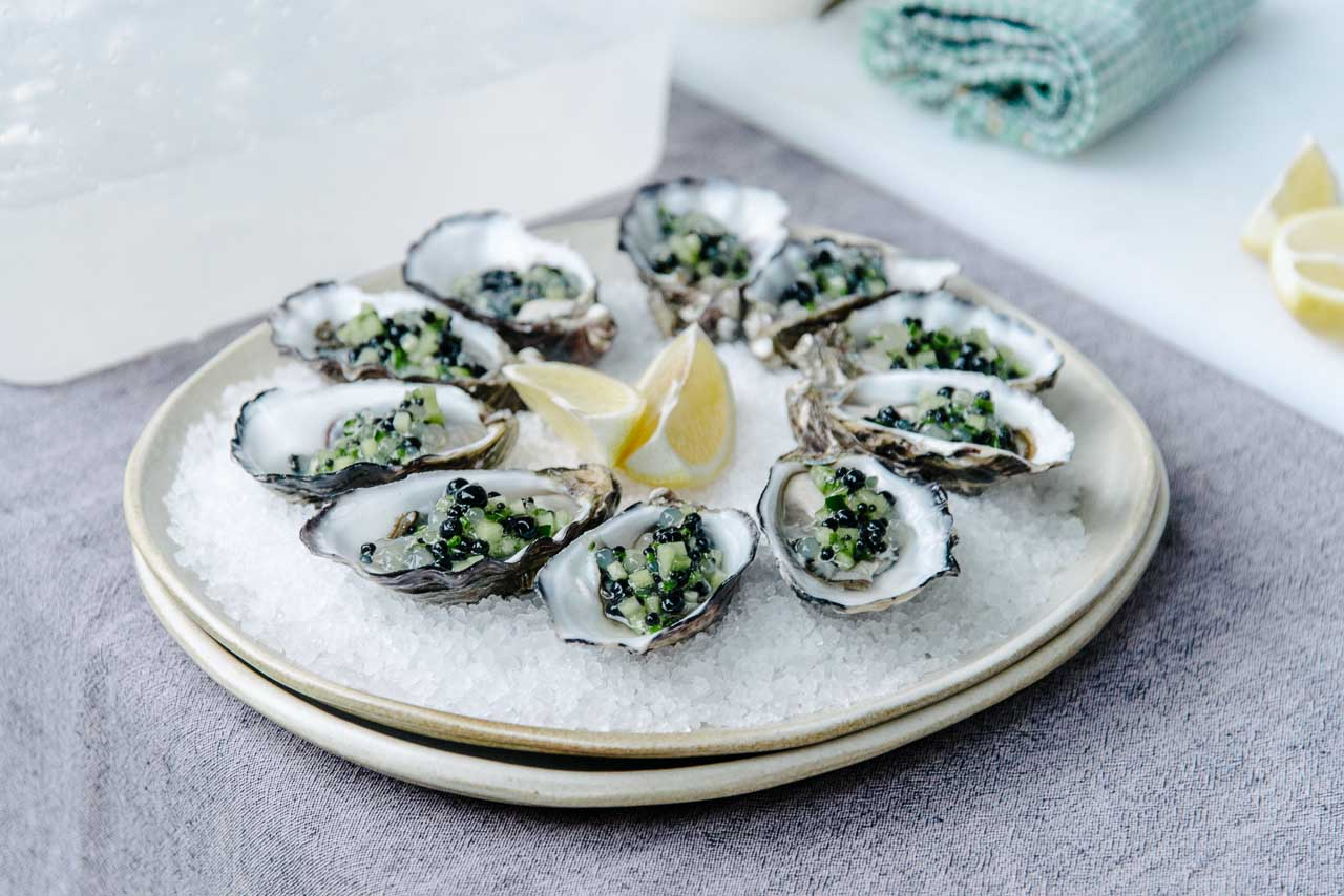 Oysters at Kangaroo and Canapes, Southern Ocean Lodge