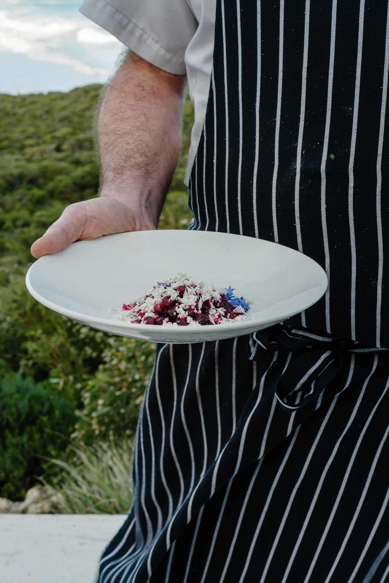 Beetroot and cheese salad at Southern Ocean Lodge